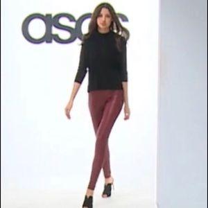 ASOS Wine Color Spanx Faux Leather Leggings
